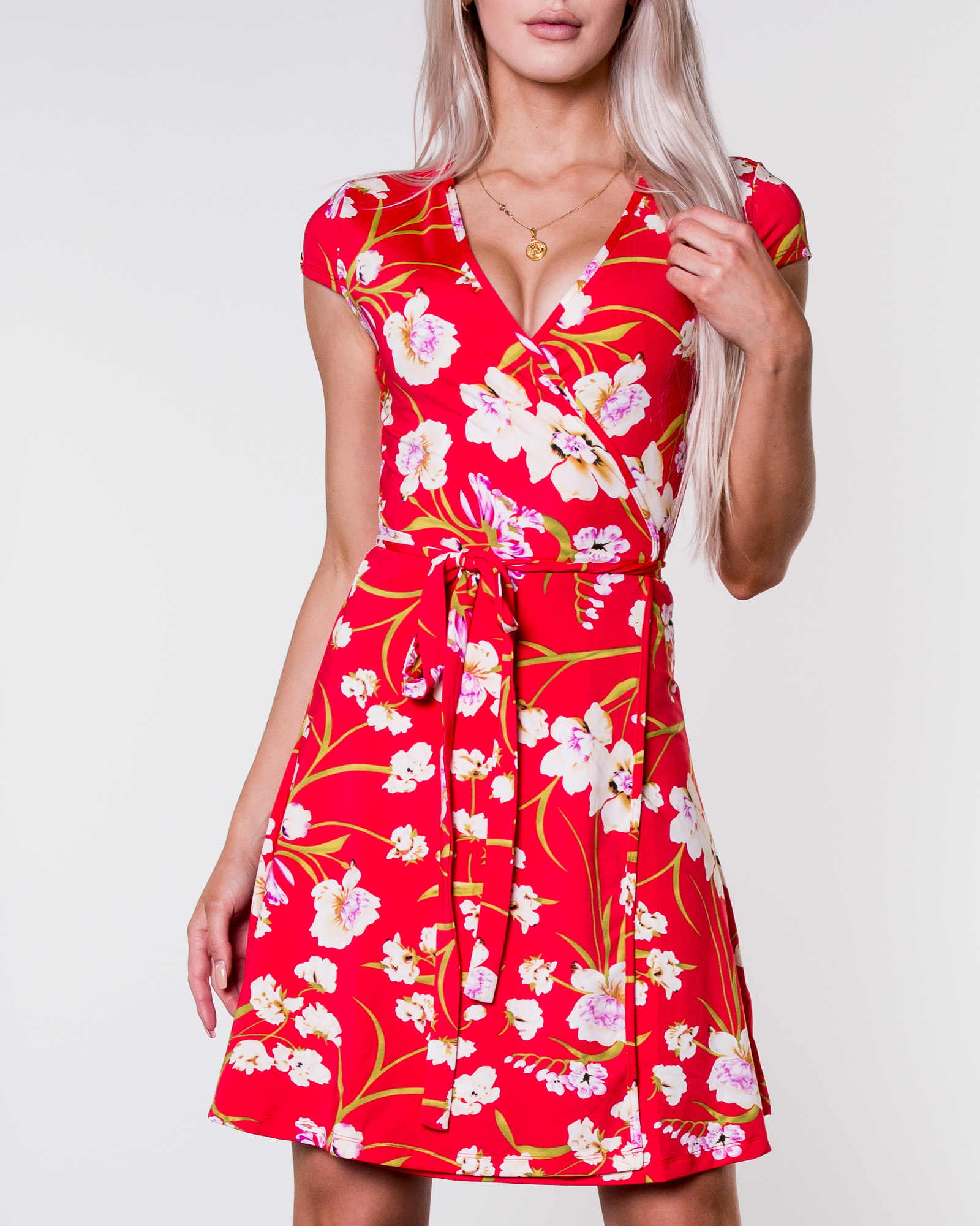 817b84b7 Chiara Forthi, Sonnet Mini Wrap Dress Red/Floral   Women's Dresses    HOUSEOFBRANDON.COM