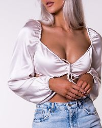Tie Front Cropped Satin Blouse Cream