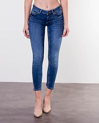 Delly Crop Slit Skinny Medium Blue Denim