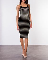 Nella Rib Dress Black/Yolk Yellow