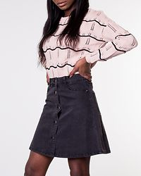 Sunny Short Skater Skirt Black Denim