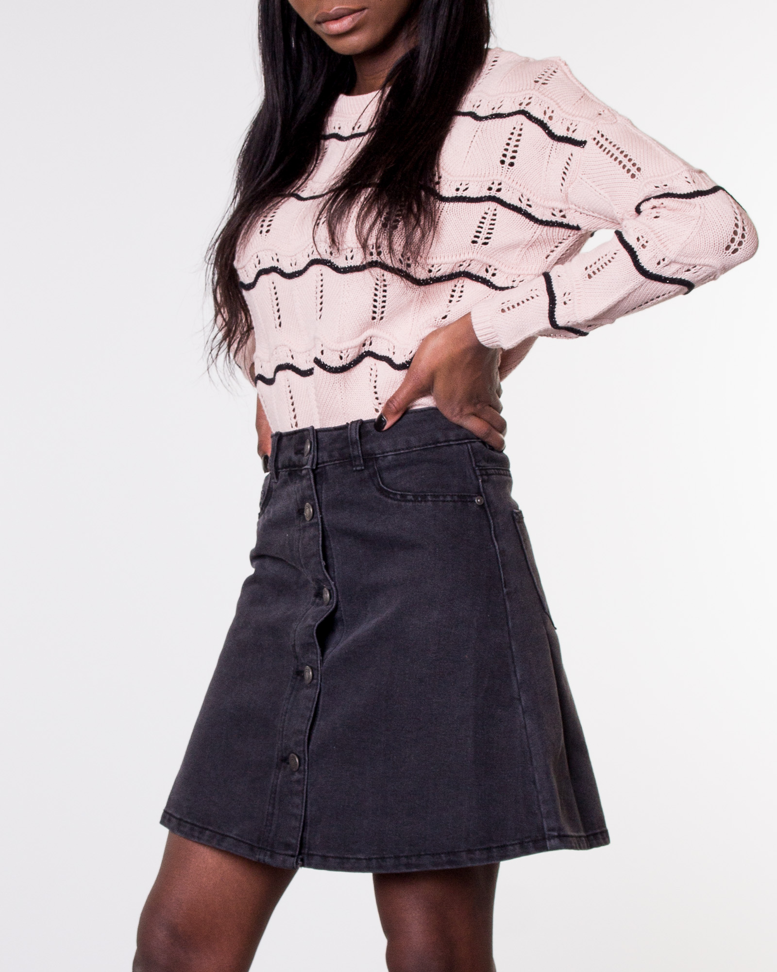 a24af6a7d64a47 Noisy may, Sunny Short Skater Skirt Black Denim | Skirts ...