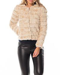 Avenue Faux Fur Short Jacket Oatmeal