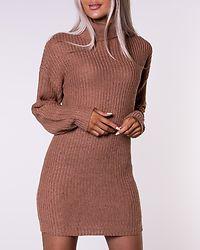 Camel Roll Neck Knit Jumper Dress