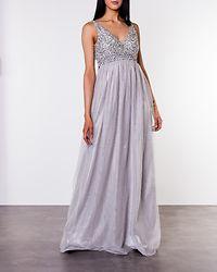 Ivory Embellished Prom Dress Light Grey